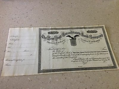 1870's Very Rare New York Consolidated Card Company Stock Certificate Unissued