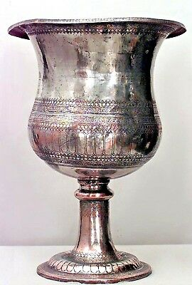 English Victorian Monumental Silver Plated Copper Chalice Shaped Urn