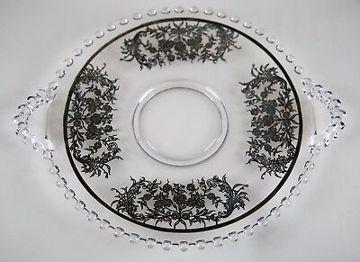 """Imperial Candlewick Sterling Overlay Handled Cake Plate 12"""" Vintage Glass"""