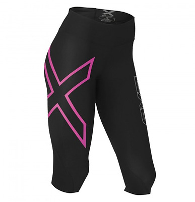 2XU Women's Mid-rise Compression 3/4 Tight - LARGE - Black/Pink