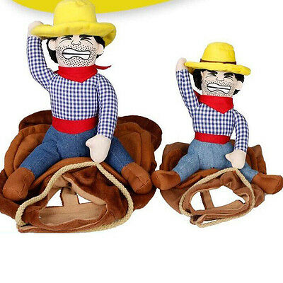 Funny Pet Dog Riding Horse Rodeo Cowboy Costume Halloween Party Clothing Clothes