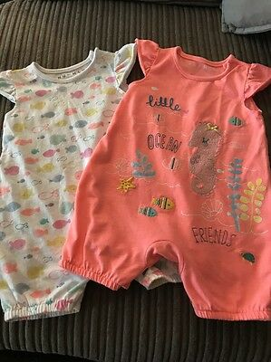 Girls 3-6 Months Set Of 2 Romper Suits