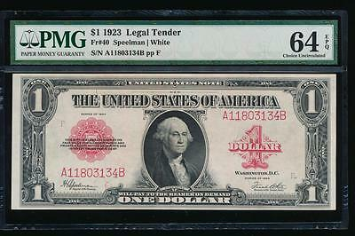 AC Fr 40 1923 $1 Legal Tender red seal  PMG 64 EPQ UNC