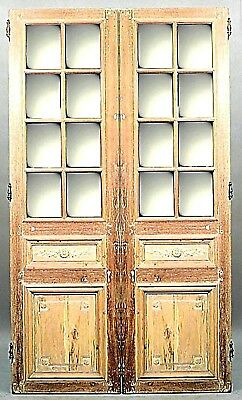 Pair of French Louis XVI Style (19th Cent) Stripped Doors with Mirror