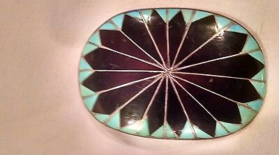 Zuni Inlay Sterling Native American Indian Belt Buckle (Old Pawn)