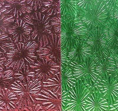 3 Green and Purple Antique Vintage Patterned Glass Sheets Stained Door Window