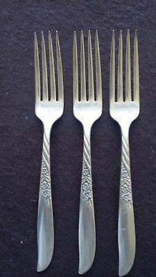 "1958 Always Wildwood Pattern Wm A Rogers Silver Plate (3) 7 1/2"" Dinner Forks"