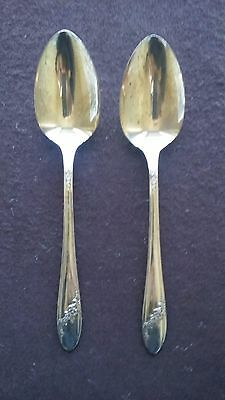 "1946 Queen Bess Pattern Oneida Silver Plate (2) 8""  Large Serving Spoons"