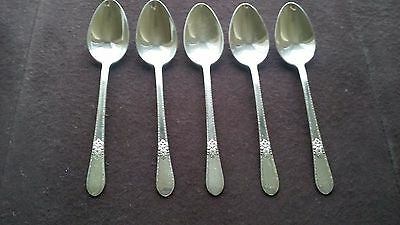 "1930 Adoration Pattern 1847 Rogers Bros Silver Plate (5) 7 1/4"" Soup Spoons"