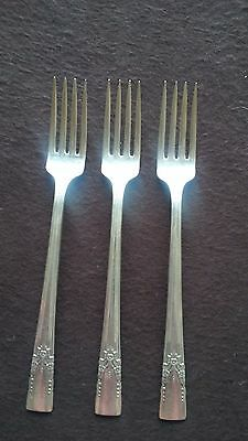 "1940 Artistic Pattern Wm A Rogers Silver Plate (3) 7 1/2"" Dinner Forks"