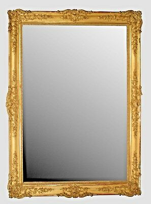 French Louis XV Style (19th Cent.) Gilt Carved Monumental Framed Mirror