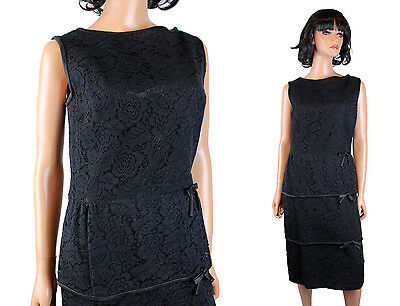 38a77d58240 60s Cocktail Dress Sz M Vintage Black Lace Sleeveless Hourglass Bombshell  Gown