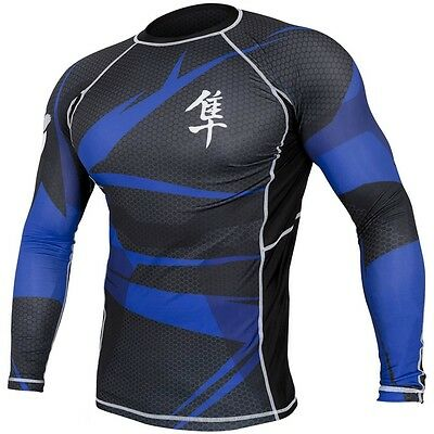 Hayabusa Metaru Rashguard Longsleeve Black/Blue MMA, BJJ, Compression wear.