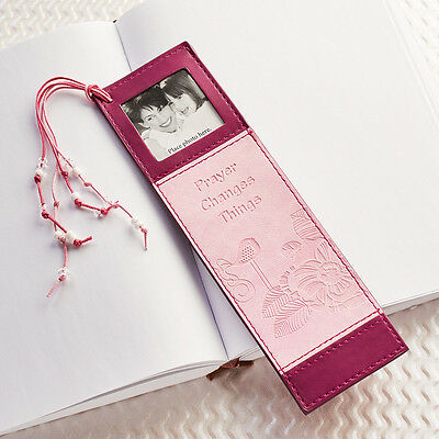 PRAYER CHANGES THINGS Faux Leather Photo Bookmark Page Marker Christian Bible