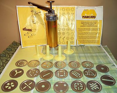 Marcato  Cookie Press Biscuits 20 Discs 4 Nozzle Box Directions Italy