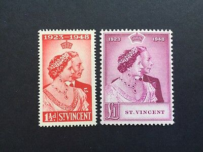 ASstamps 1948 St. Vincent King George VI Silver Wedding Set MNH SC#154-155