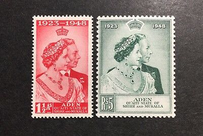 ASstamps 1948 Aden- Quaiti State King George VI Silver Wedding Set MNH SC#14-15