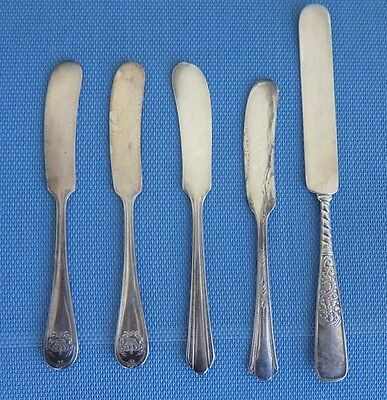 5 Ornate Antique Silverplate Butter Knives