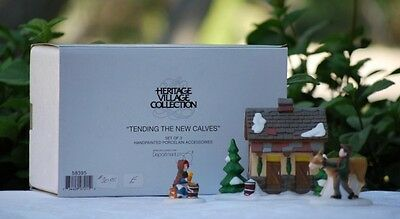 "Dept. 56 Dickens' Village ""TENDING THE NEW CALVES"" NIB Set of 3 RETIRED"