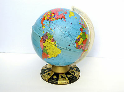 Vintage Metal Ohio Art World Globe With Zodiac Base Made In Usa Rare