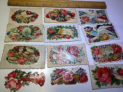 Vintage Victorian calling cards, lot of 12, Variety of themes, die cuts, MINT
