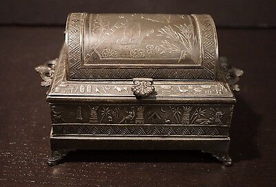 Antique Victorian Silver Plated Egyptian Revival Jewelry Box Derby Silver Co.