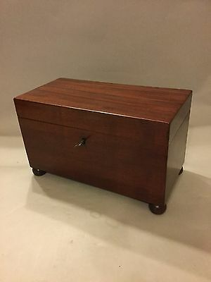 Antique Georgian Mahogany Three Section Tea Caddy