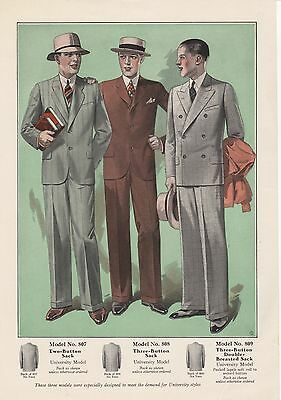 S-4 Men's Fashion - Vintage Men's Suits Advertising -1930s - Suit Models 807/8/9