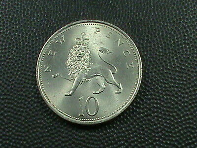 GREAT  BRITAIN   10  Pence   1969     UNCIRCULATED   ,  NO  YELLOW  TONE