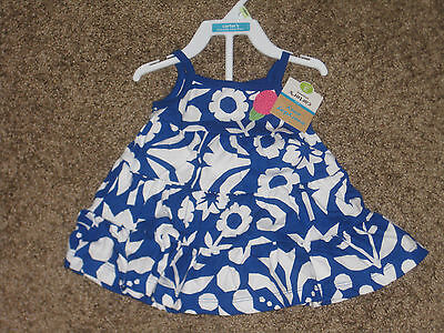 NWT CARTER floral girls 3m blue white 2 piece summer dress set outfit all cotton
