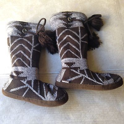 The Original Muk Luks Brown Silver Slipper Boot Medium Women's 6.5 - 7.5