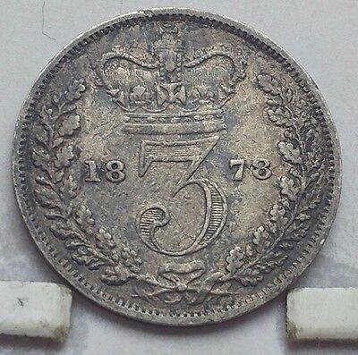 1878 Great Britain Silver 3 Pence Coin