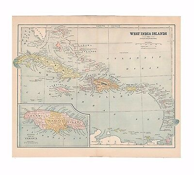 Original antique color map of the West India Islands from 1887 encyclopedia