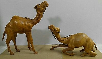 """Vintage 15"""" & 8.5"""" Leather Wrapped Dromedary Camels Made in India"""