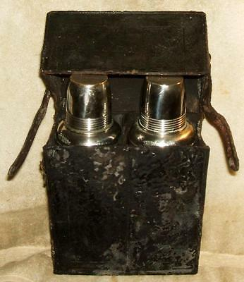 Early 1900's American Thermos Bottle Co. Leather Carrying Case with 2 Thermos