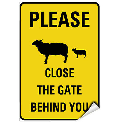 Please Close The Gate Behind You Sheep And Dog Symbol LABEL DECAL STICKER