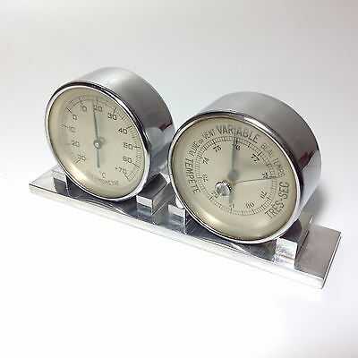 Vintage Art Deco French Desktop Weather Station Barometer And Thermometer