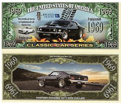 2 Notes 1969 Ford Mustang Boss 429 Classic Car Series Novelty Million $ Notes