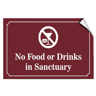 No Food Or Drinks In Sanctuary Style 2 Business LABEL DECAL STICKER