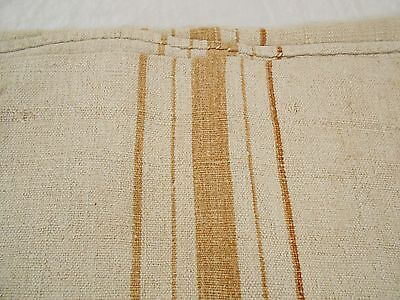 Vtg Antique GOLDEN BEIGE STRIPE European HEMP LINEN Fabric FEED SACK GRAIN BAG