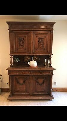 Original!Large Antique French Carved Hunting Cabinet/ Buffett Renaissance 1890's