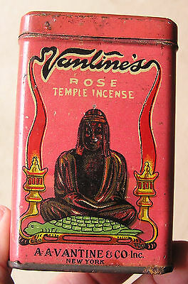 EARLY LITHO'd ROSE TEMPLE INCENSE TIN, A-A-VANTINE'S INC. NEW YORK