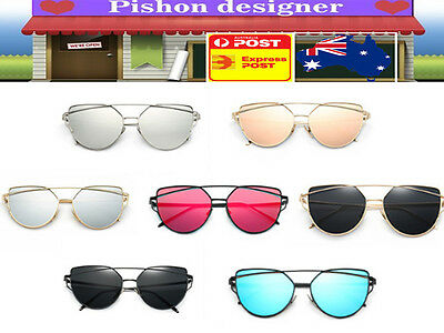 Women/Men Retro Metal Frame Sunglass Glass Vintage Oversizes Cat Eye Eyewear