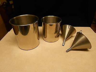 2 Vollrath Stainless Pots & 2 Stainless Funnels