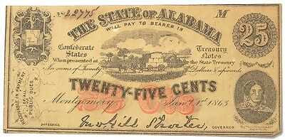 Confederate State Of Alabama Treasury Note 25 Cents Second Series Jan 1, 1863
