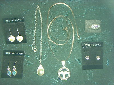 Sterling Silver .925 Jewelry Lot  Necklaces, Earrings & Ring