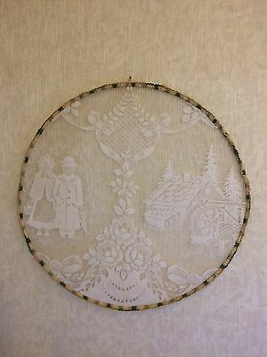 Antique Vintage Thread Needle Work Embroidery Wall Art Handmade