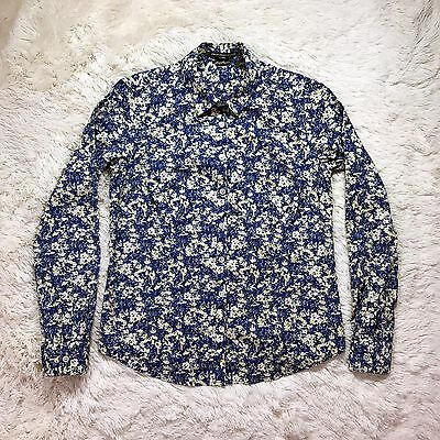 Eddie Bauer Women's Blue Floral Long Sleeve Button Down Shirt Top Size Small