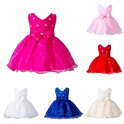 Baby Girl Flower Wedding Party Christening Gown Formal Pageant Tutu Dress AU