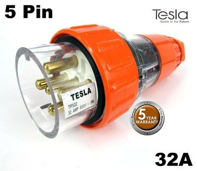 Tesla 32 AMP 3 Phase 5 Pin Round Extension Plug